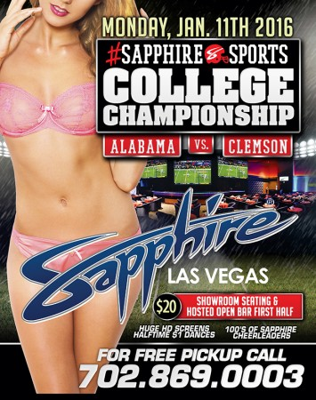 Watch the 2016 College Football Playoff National Championship at Sapphire Las Vegas